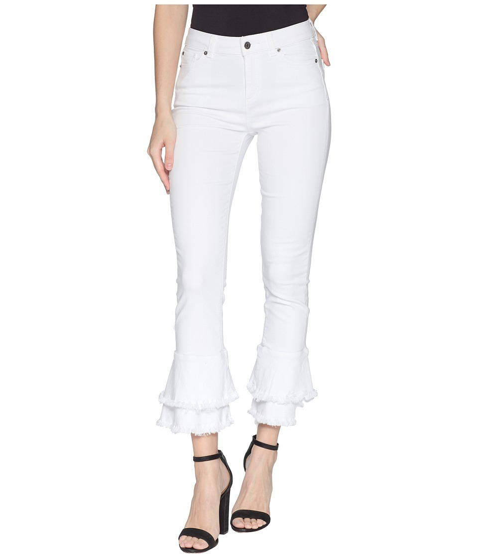 1.STATE - Five-Pocket Ruffle Frayed Hem Skinny Jeans in Ultra White (Ultra White) Womens Jeans