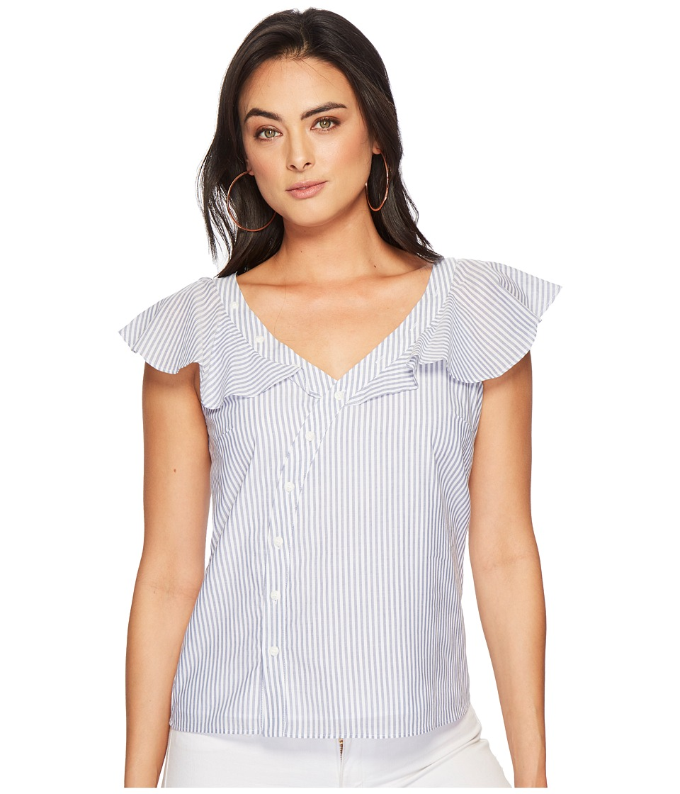 1.STATE - Asymmetrical Button Front Blouse w/ Ruffle (Harbor Light) Womens Blouse