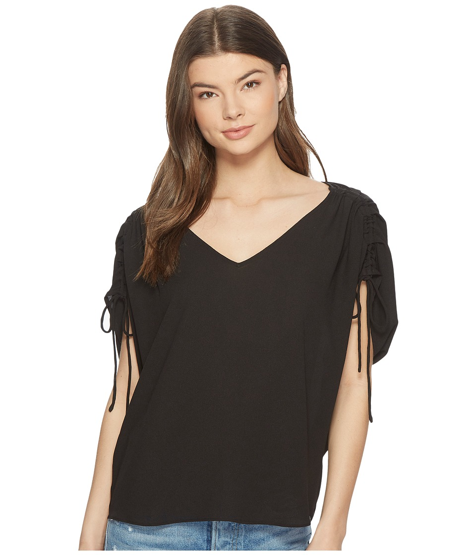 1.STATE - Cinched Sleeve V-Neck Blouse (Rich Black) Womens Blouse