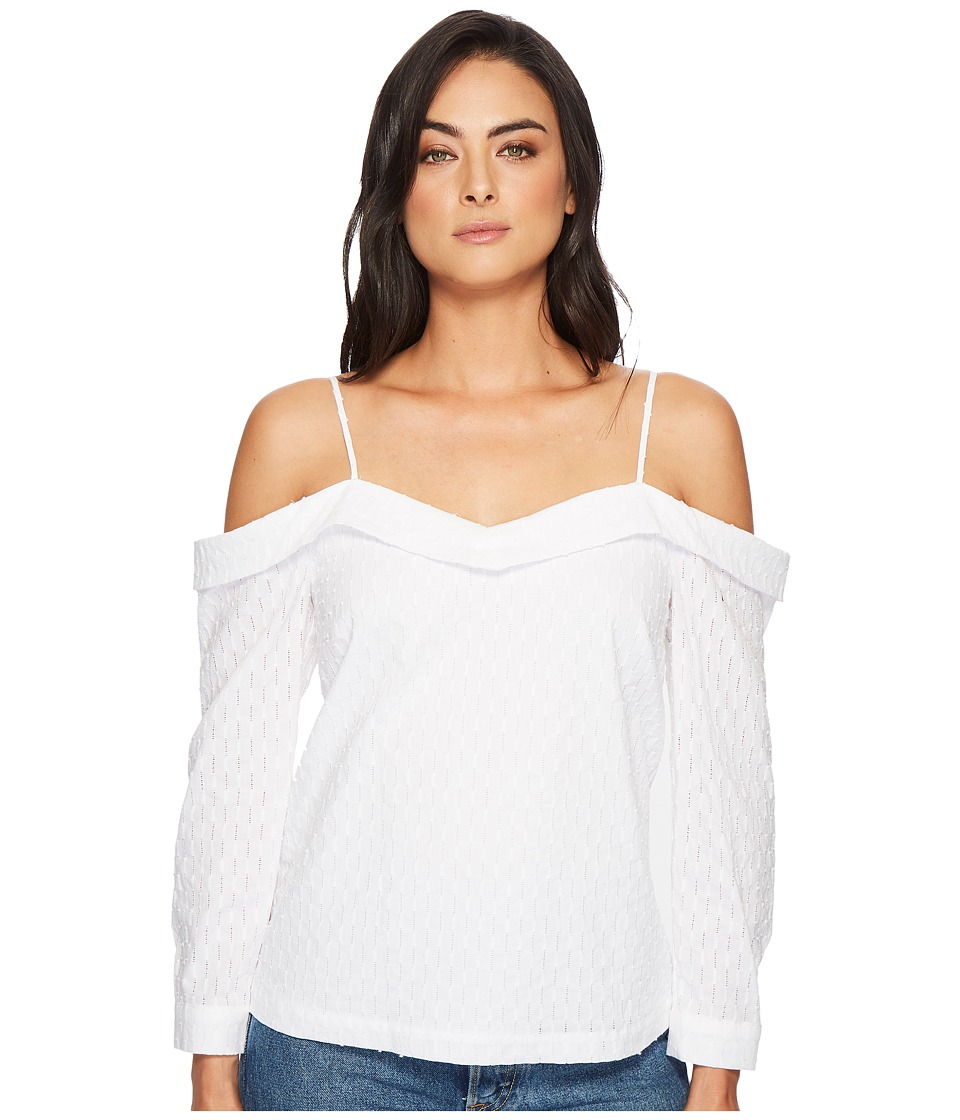 1.STATE - Cold Shoulder Cinched V-Neck Blouse (Ultra White) Womens Blouse