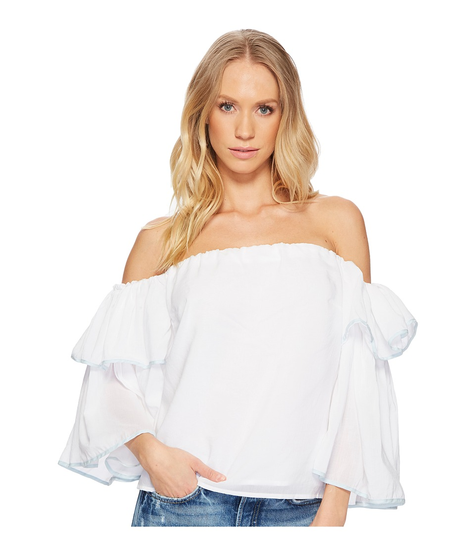 1.STATE - Off Shoulder Bell Sleeve Tipped Blouse (Ultra White) Womens Blouse