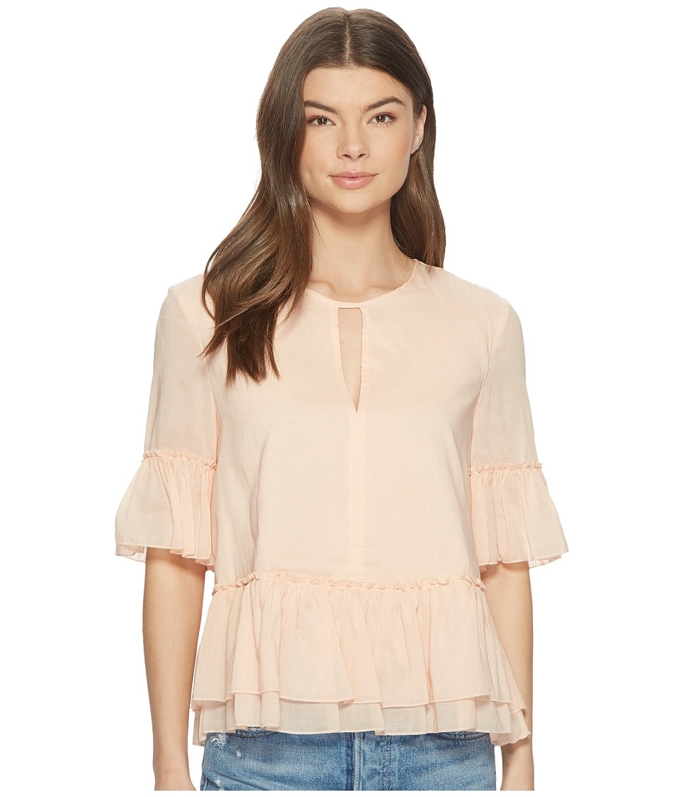 1.STATE - Sheered Ruffle Blouse w/ Keyhole (Peach Cloud) Womens Blouse
