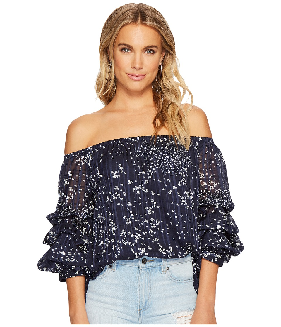 1.STATE - Off Shoulder Pintuck Sleeve Blouse (Navy Yard) Womens Blouse