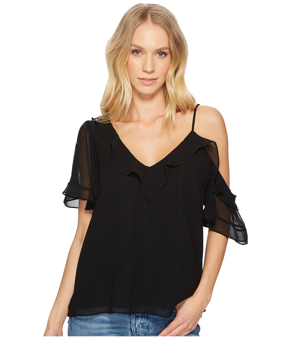 1.STATE - Ruffle Edge Blouse w/ Shoulder Cut Out (Rich Black) Womens Blouse