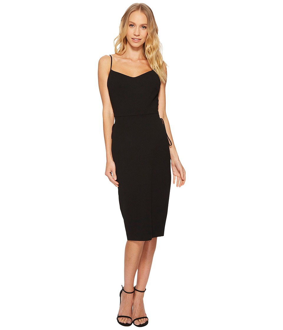 1.STATE - Spaghetti Strap Slip Dress w/ Lace-Up (Rich Black) Womens Dress