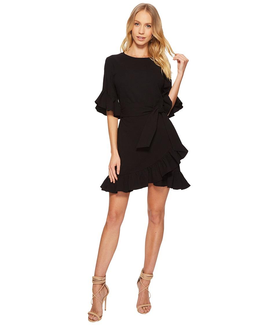 1.STATE - Asymmetrical Ruffled Edge Wrap Dress (Rich Black) Womens Dress