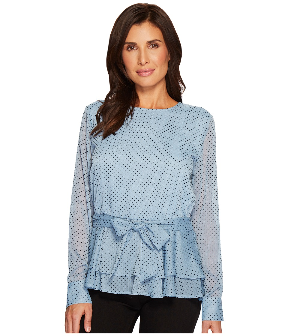 Ivanka Trump - Textured Woven Dotted Long Sleeve Blouse (Sky Blue) Womens Blouse