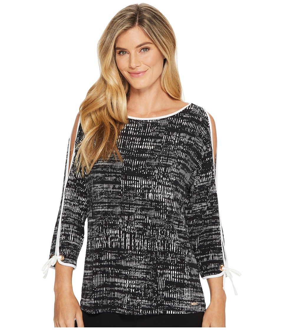Ivanka Trump Matte Jersey Long Cold Shoulder Sleeve Shirt...