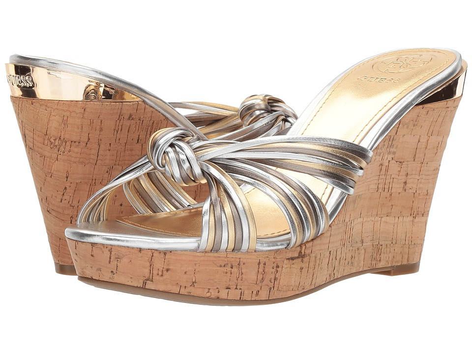 GUESS - Babsi (Silver Synthetic) Womens Wedge Shoes