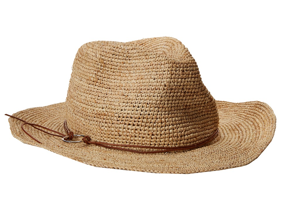 Hat Attack - Raffia Crochet Rancher w/ Ring Cord Trim (Natural/Silver) Traditional Hats