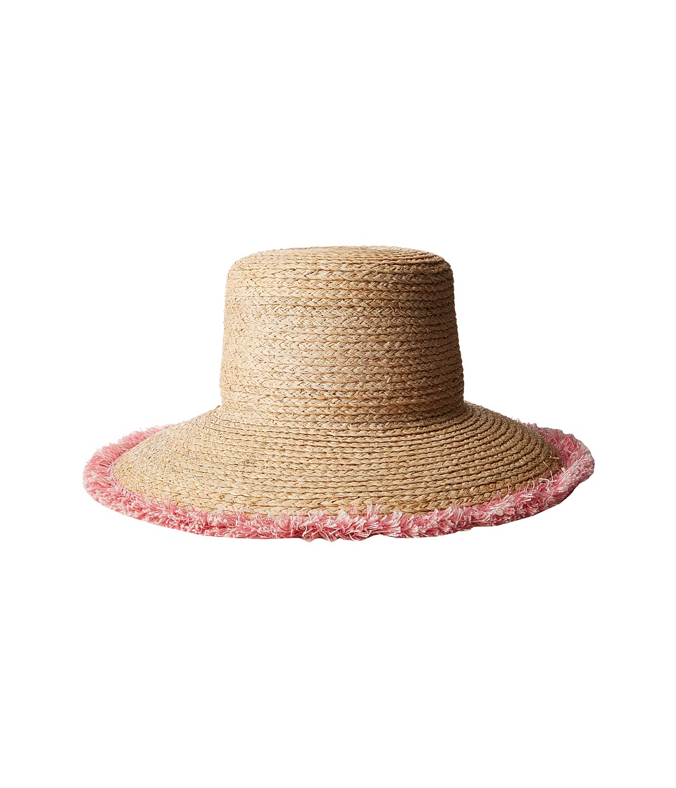 Hat Attack - Raffia Braid Lampshade w/ Fringe (Natural/Pink) Traditional Hats