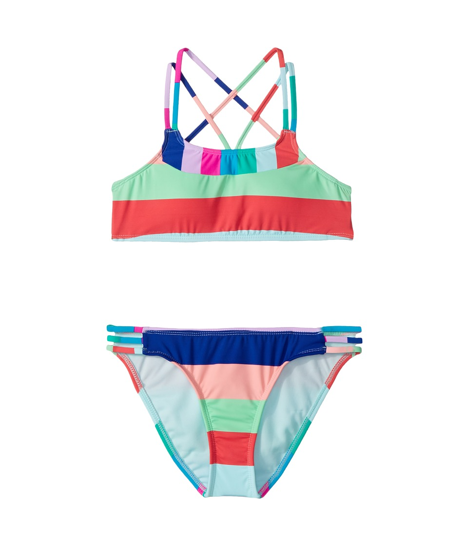 Hobie Kids - Island Vibin Bralette and Strappy Hipster Set (Big Kids) (Multi) Girls Swimwear Sets
