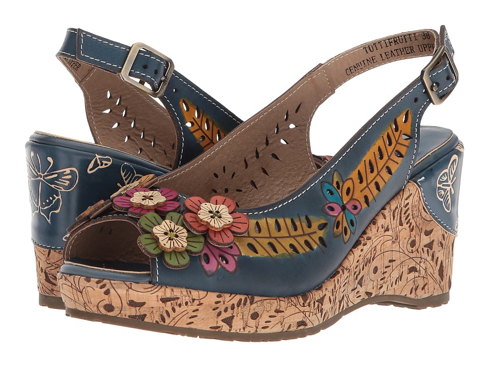 Vintage Style Shoes, Vintage Inspired Shoes LArtiste by Spring Step - Tuttifrutti Navy Womens Shoes $89.99 AT vintagedancer.com