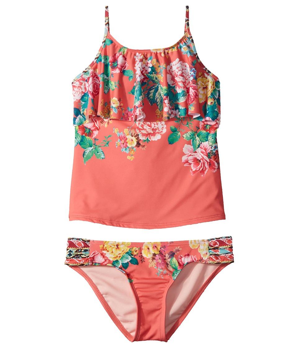 Hobie Kids - Petal Pusher Hanky Tankini and Sash Side Hipster Set (Big Kids) (Hot Coral) Girls Swimwear Sets