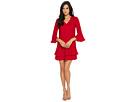 CeCe Katelyn 3/4 Sleeve V-Neck Ruffle Dress