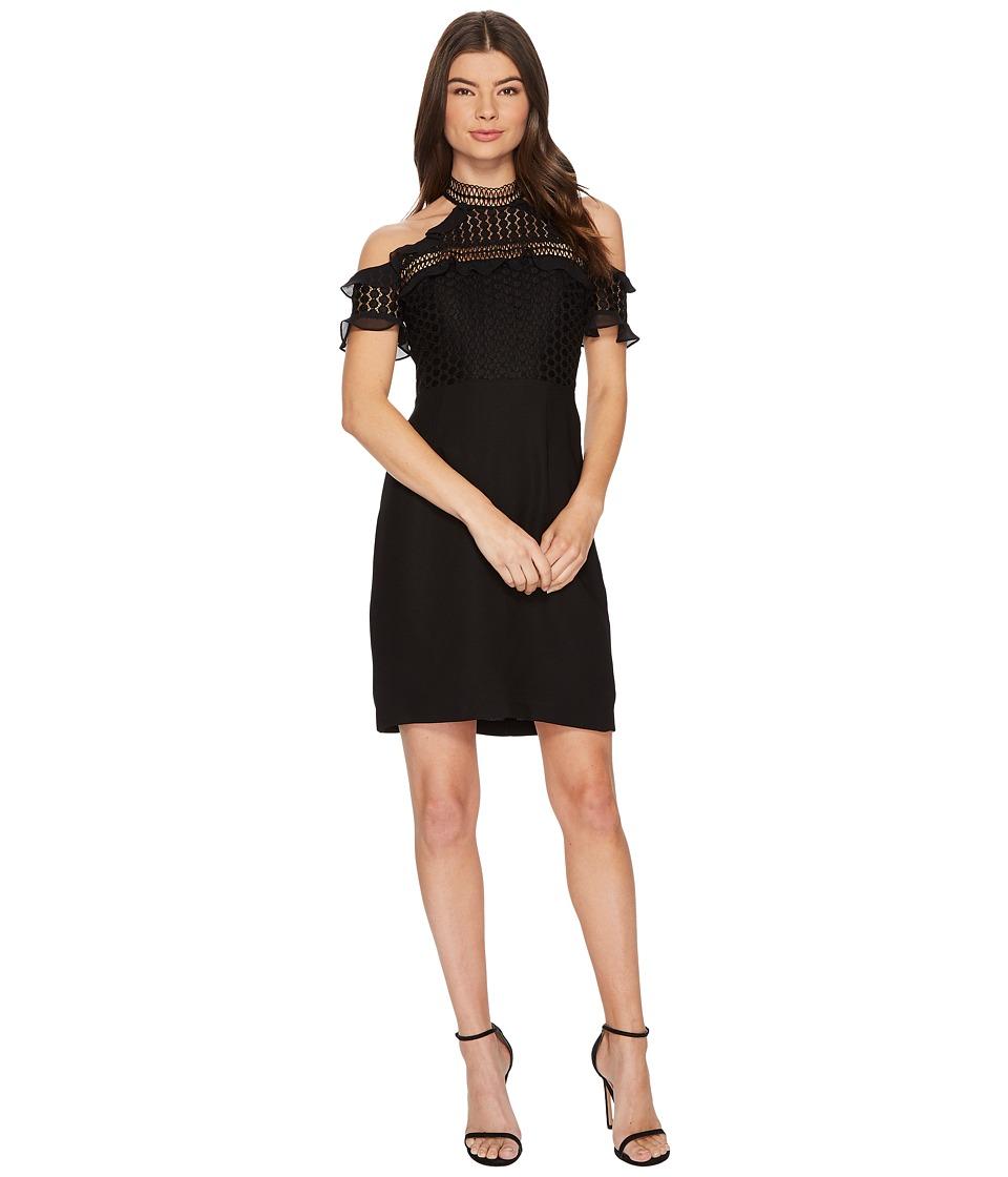 CeCe - Anne Cold Shoulder Lace Trim Dress