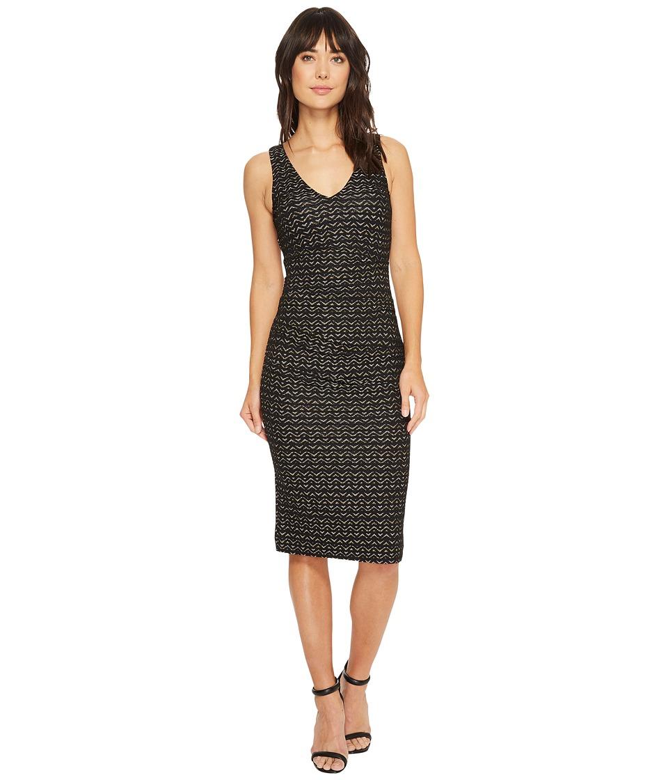Nicole Miller Lurex Zigzag Wren Hip Tuck Dress (Black/Gold) Women