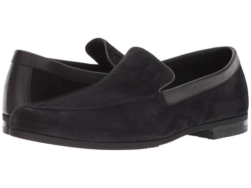 John Lobb - Tyne Loafer (Black Suede) Mens Slip on  Shoes