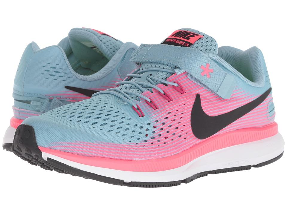 Nike Kids - Zoom Pegasus 34 FlyEase (Little Kid/Big Kid) (Mica Blue/Black/Racer Pink/Sport Fuchsia) Girls Shoes