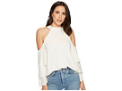 1.STATE Mock Neck Cold Shoulder Blouse w/ Tiers