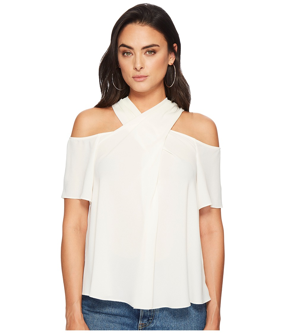 1.STATE - Short Sleeve Cold Shoulder Cross Neck Blouse (Antique White) Womens Blouse