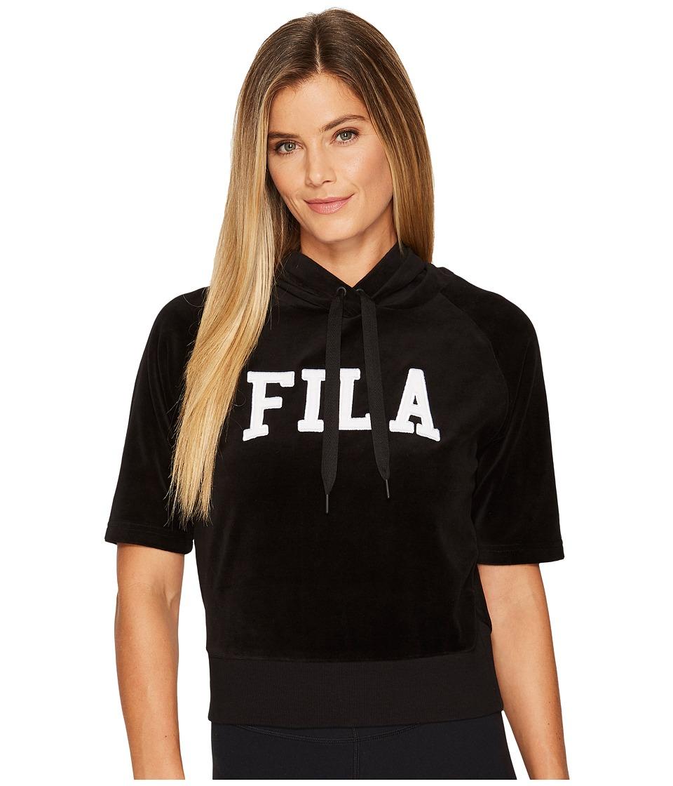 Fila Ariana Short Sleeve Hoodie (Black/White) Women