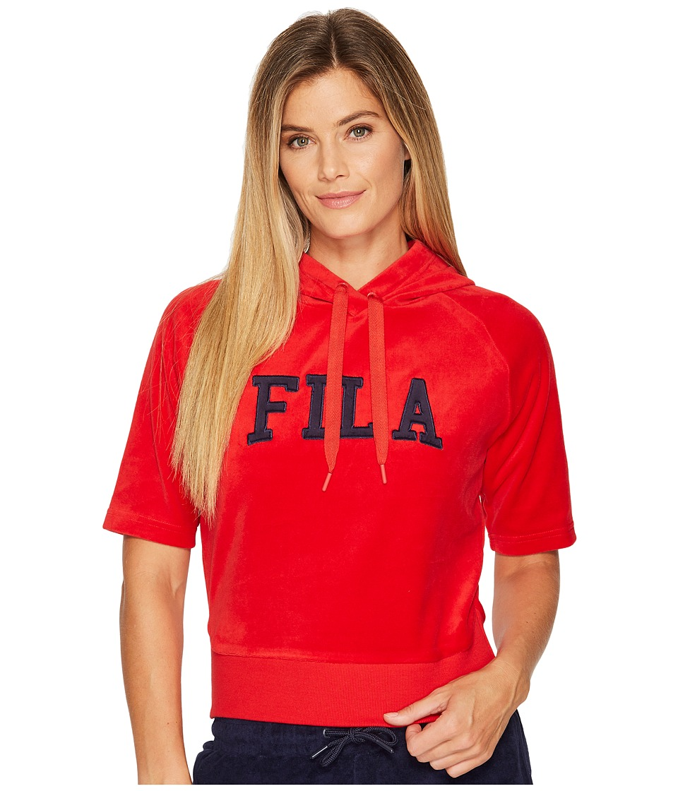 Fila Ariana Short Sleeve Hoodie (Red/Navy) Women