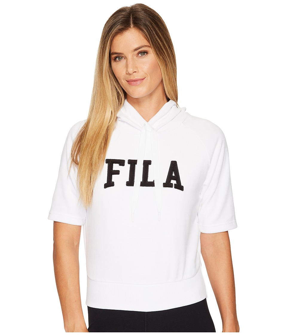 Fila Ariana Short Sleeve Hoodie (White/Black) Women