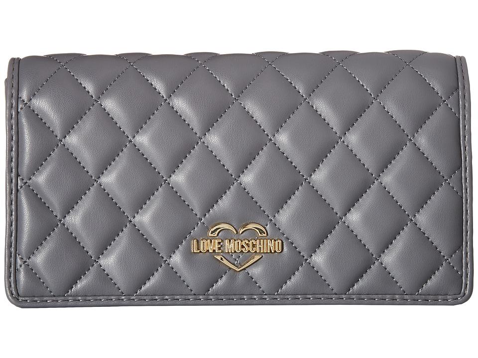 LOVE Moschino - Super Quilted Clutch (Dark Grey) Handbags