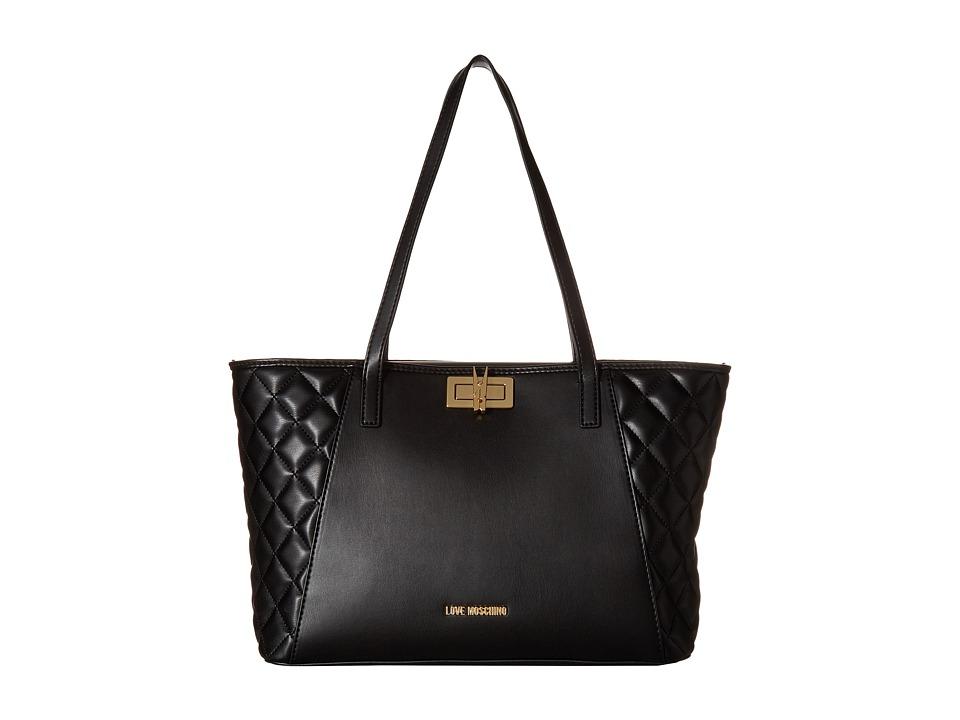 LOVE Moschino - Fashion Quilted Shopping Bag (Black) Handbags