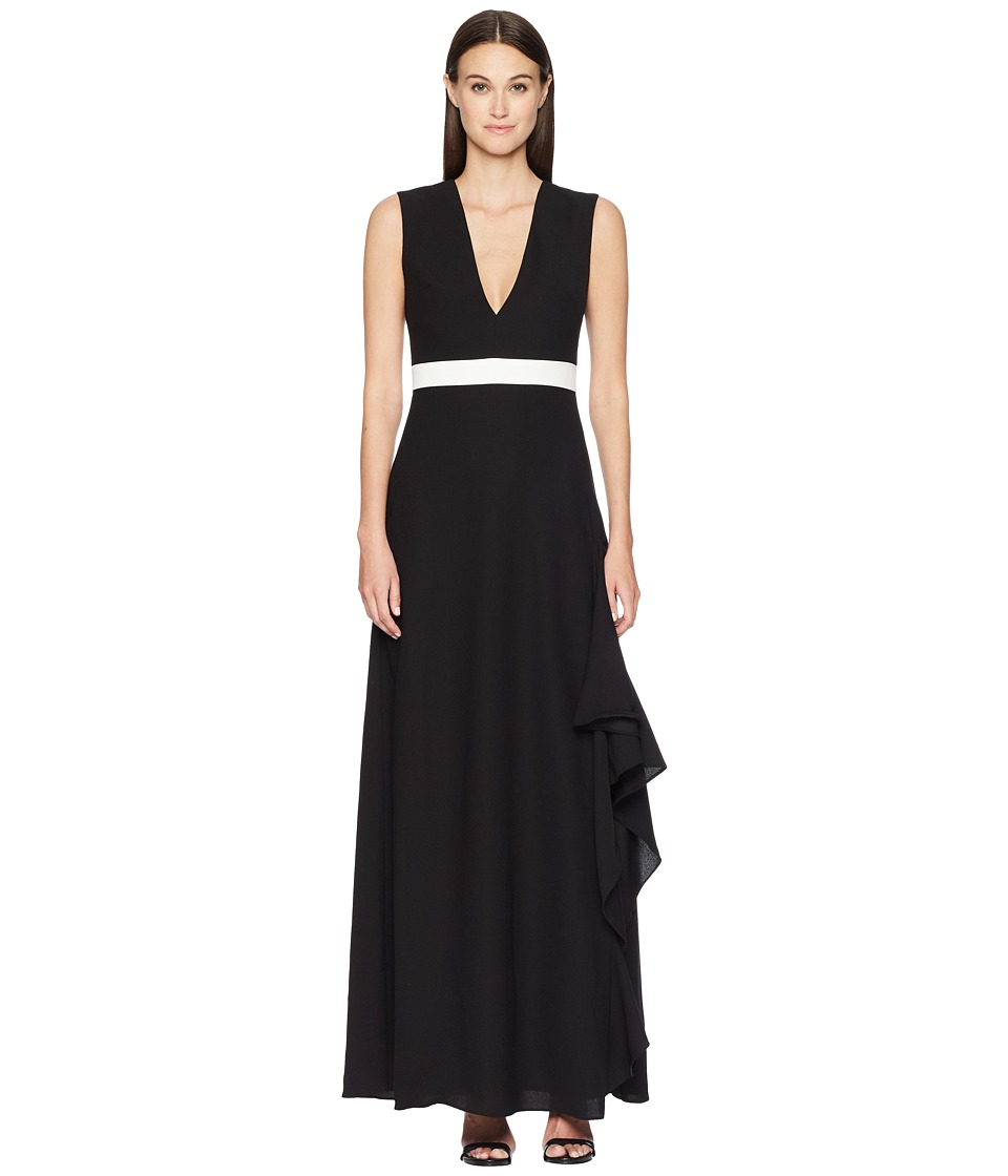 ML Monique Lhuillier - Sleeveless Plunging V-Neck Side Slit Maxi (Black) Womens Dress
