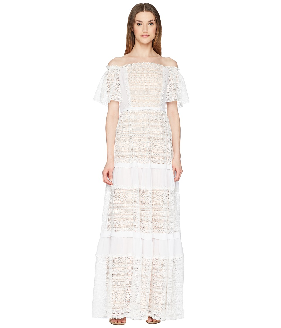ML Monique Lhuillier - Off the Shoulder Lace Maxi Dress (White) Womens Dress
