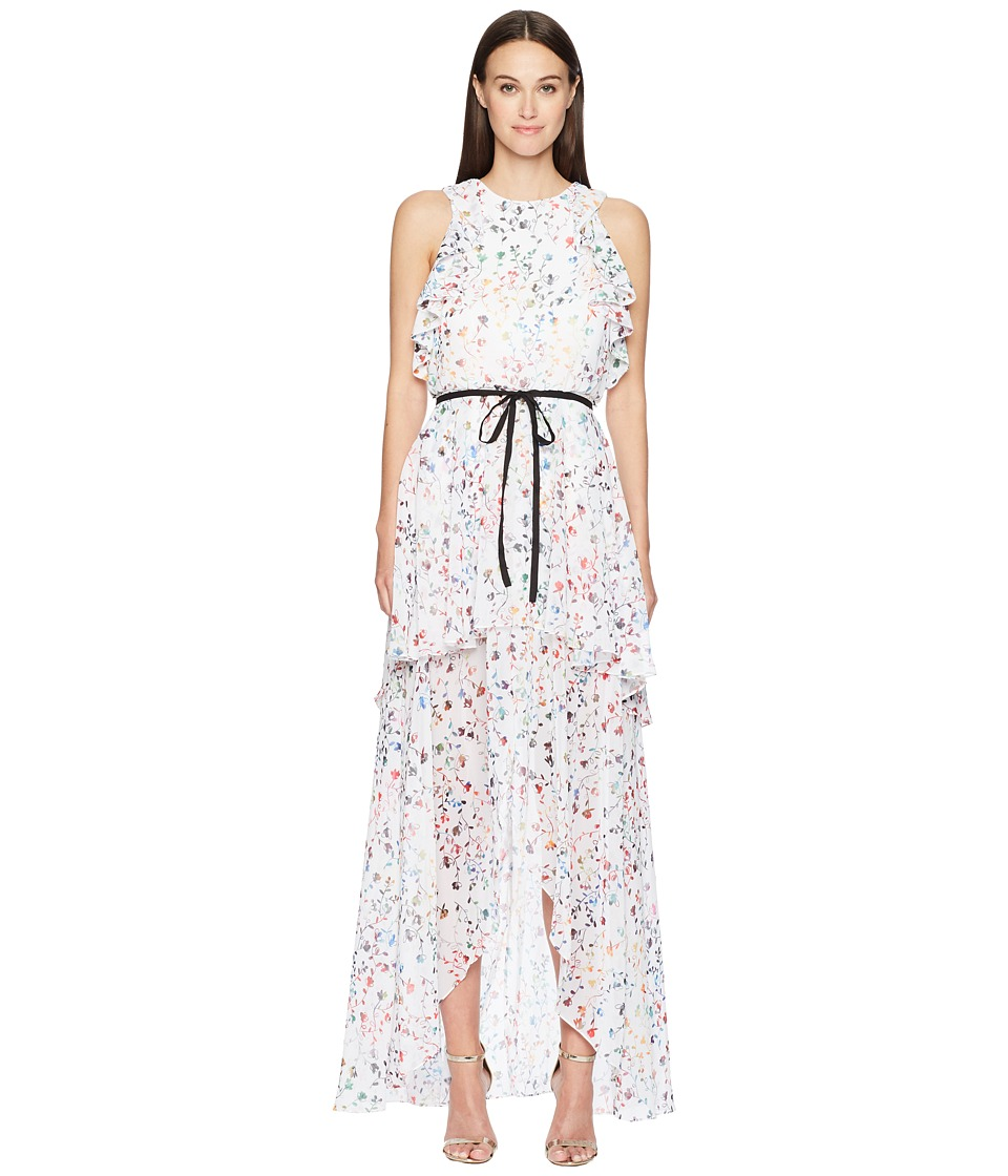 ML Monique Lhuillier - Sleeveless Tie Waist Garden High-Low Dress (Gardenia Combo White) Womens Dress