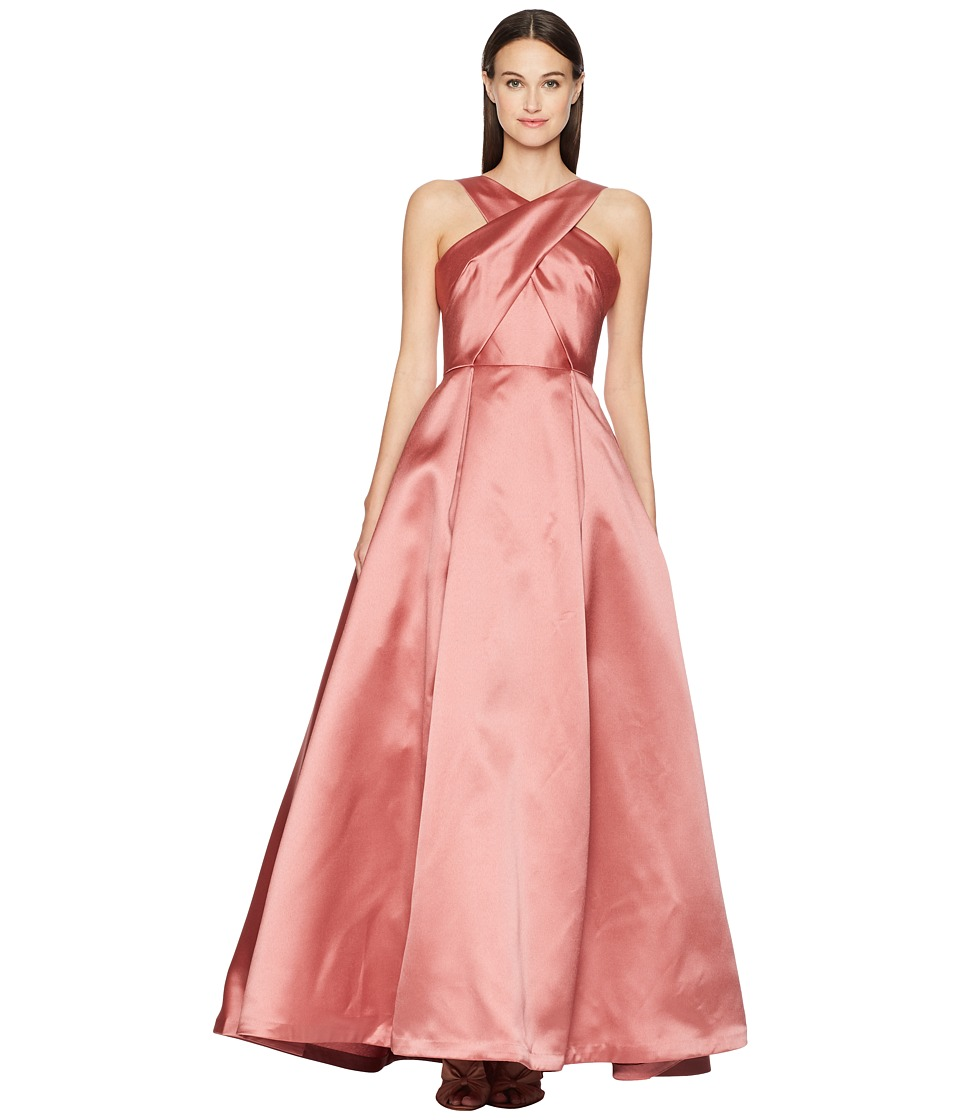 ML Monique Lhuillier - Cross Front Satin Gown (Blush Pink) Womens Dress