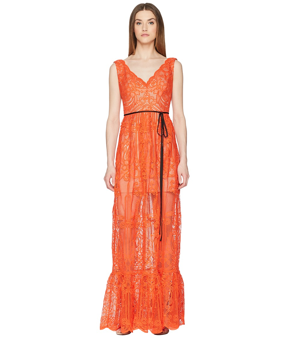 ML Monique Lhuillier - Lace Overlay Sleeveless Maxi Dress (Persimmon) Womens Dress