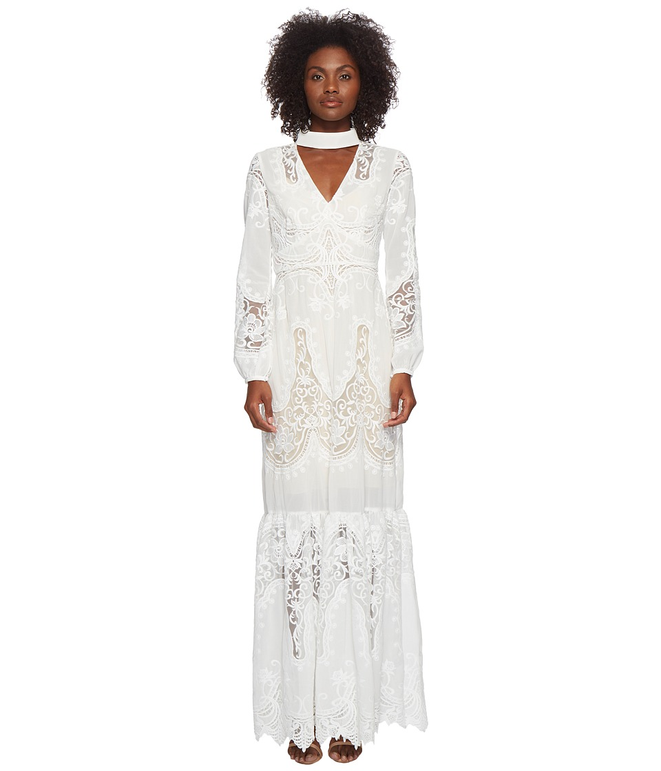ML Monique Lhuillier - Long Sleeve Lace Maxi Dress (White) Womens Dress