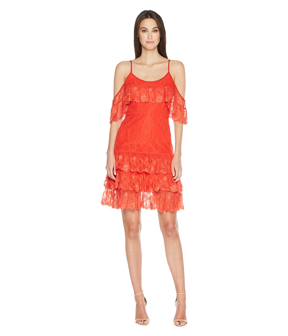 ML Monique Lhuillier - Cold Shoulder Lace Dress (Bright Orange) Womens Dress