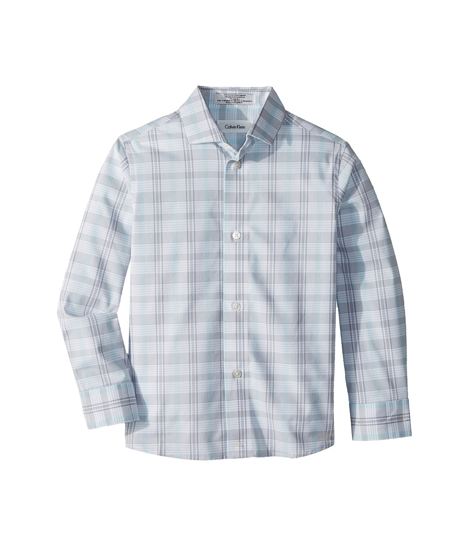 Calvin Klein Kids - Roadmap Plaid Long Sleeve Shirt (Little Kids) (Silverware) Boys Clothing