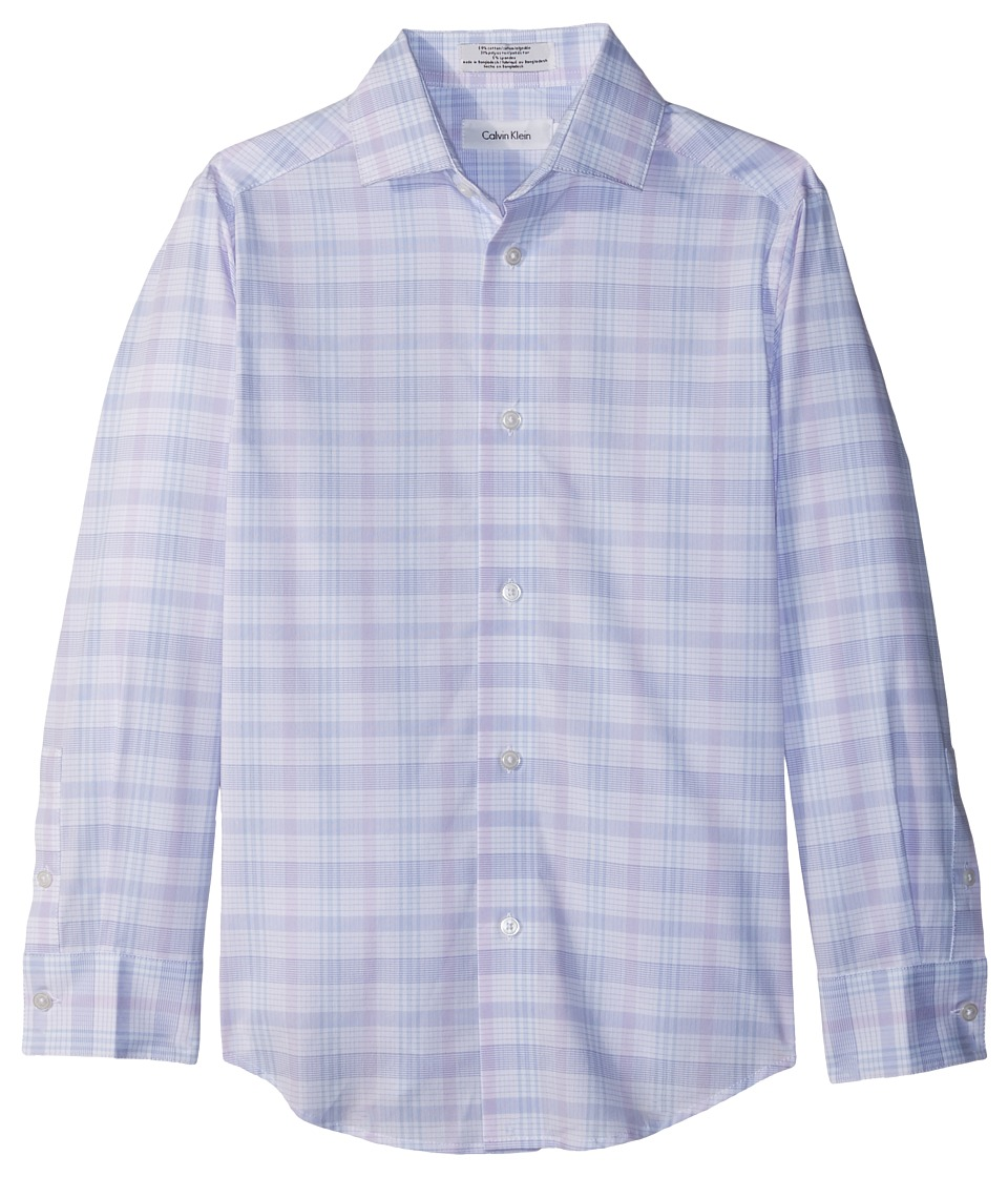 Calvin Klein Kids - Roadmap Plaid Long Sleeve Shirt (Big Kids) (Pastel Purple) Boys Clothing