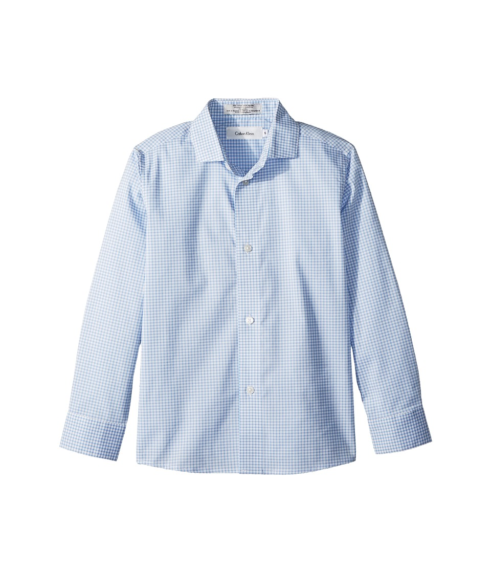 Calvin Klein Kids - Tick Gingham Long Sleeve Shirt (Little Kids) (White) Boys Clothing