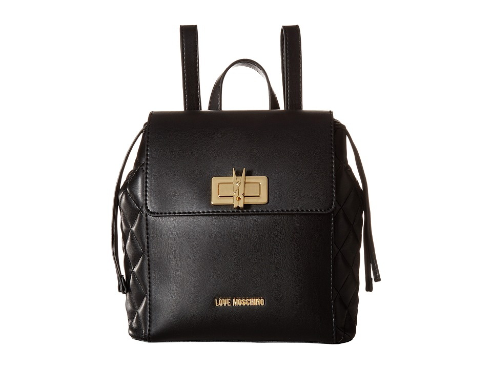 LOVE Moschino - Fashion Quilted Backpack (Black) Backpack Bags