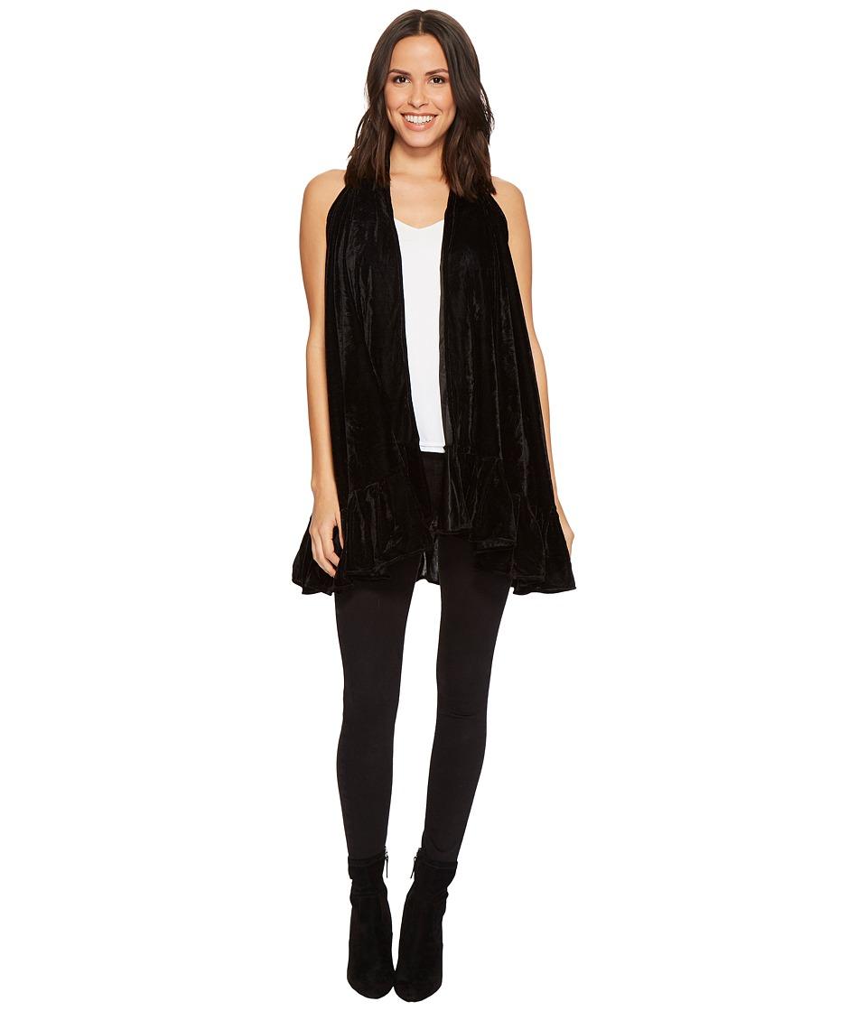 Collection Xiix Velvet Ruffle Vest (Black) Women's Clothing