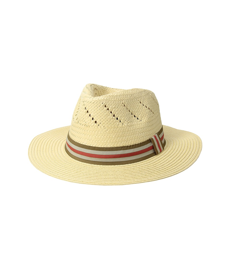 San Diego Hat Company - Paper Fedora w/ Striped Grosgrain Band (Natural) Caps