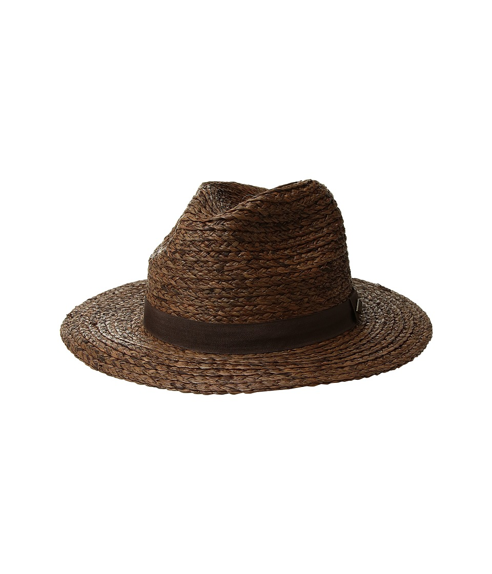 San Diego Hat Company - Raffia Braid w/ Grosgrain Fedora (Brown) Caps