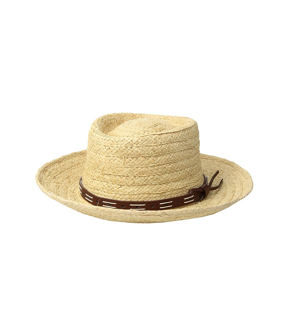 San Diego Hat Company - Raffia Gambler w/ Faux Leather Band (Natural) Caps