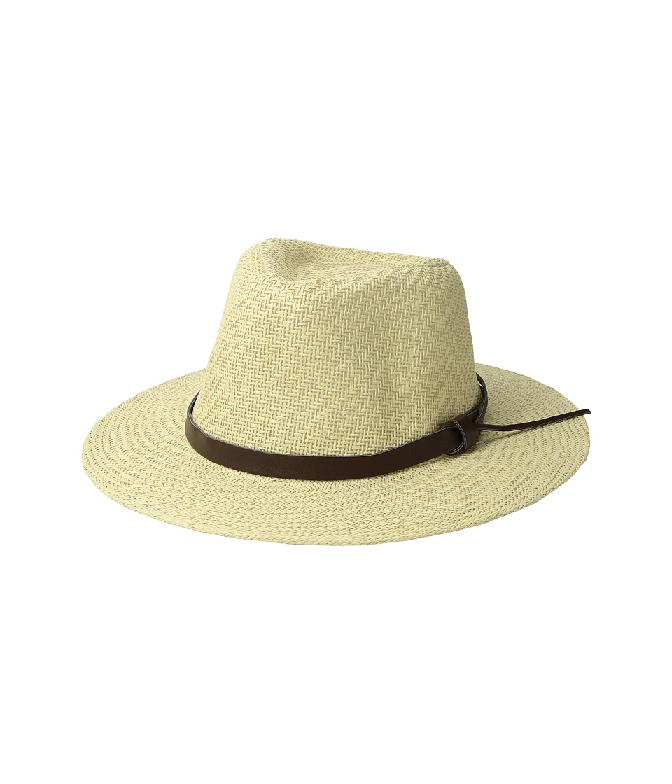 San Diego Hat Company - Cut Sew Paper Fedora w/ Faux Leather Band (Ivory) Caps