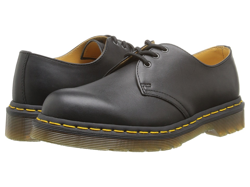 Dr Martens 1461 3-Eye Gibson (Black Nappa Leather) Lace u...