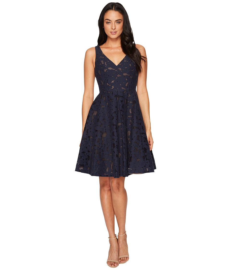 Maggy London Sheer Blossom Burnout Fit and Flare Dress (Dark Navy) Women