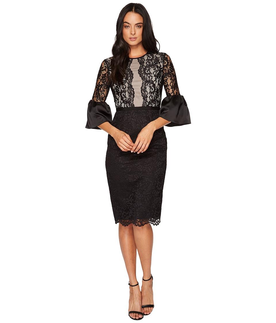 Maggy London Barcelona Scroll Lace Midi Sheath Dress w/ Scallop Hem (Black) Women