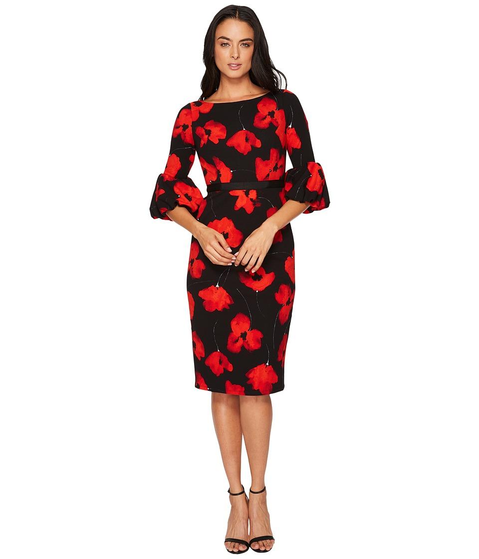 Maggy London Poppy Power Scuba Crepe Sheath Dress w/ Balloon Sleeve (Black/Red) Women